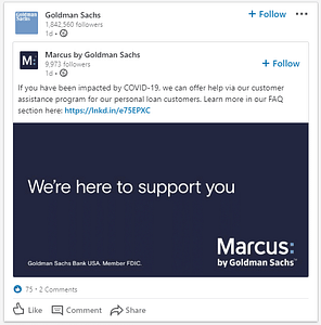 Goldman Sachs auf LinkedIn - We'e Here to Support You
